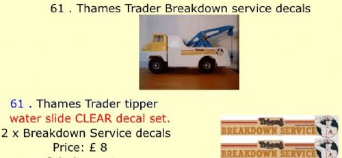 61 . Tri-ang Thames Trader Breakdown service decals